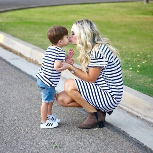 Short Sleeve Striped Mini dress for Mother & Daughter 3