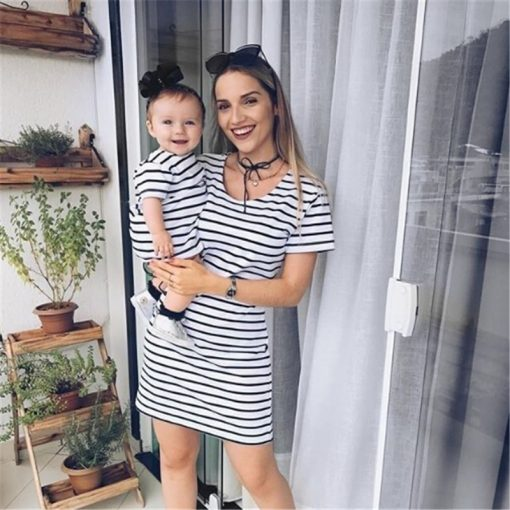 Short Sleeve Striped Mini dress for Mother & Daughter 5