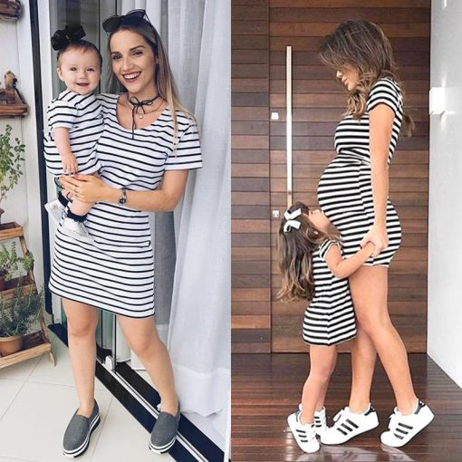 Short Sleeve Striped Mini dress for Mother & Daughter 1