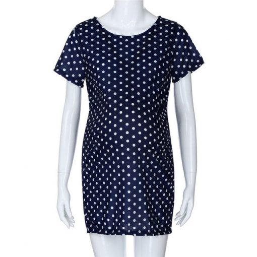 New Short Sleeve Dot Sheath Mini for Pregnant Women 2018 3
