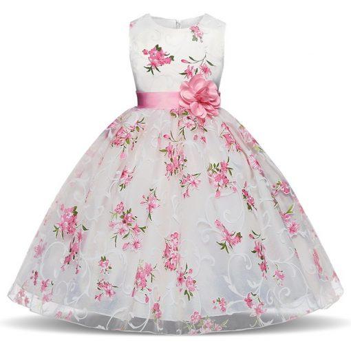Summer Flower Printed Tutu Dress for Girls 1