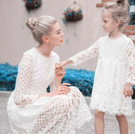 Mother Daughter Lace Dresses Family Matching Clothes 4