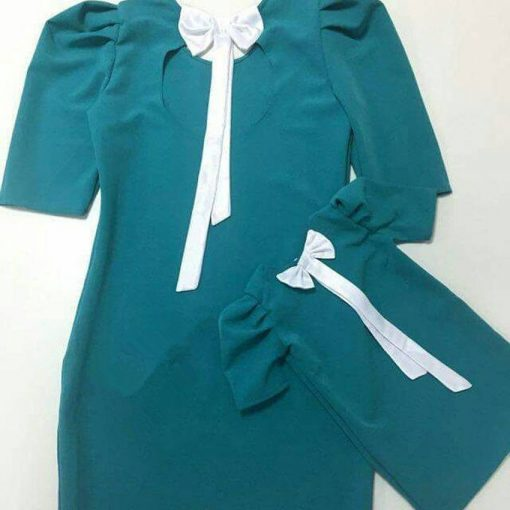 Short Sleeve Knee-Length Mom Daughter Matching Dress 2018 2
