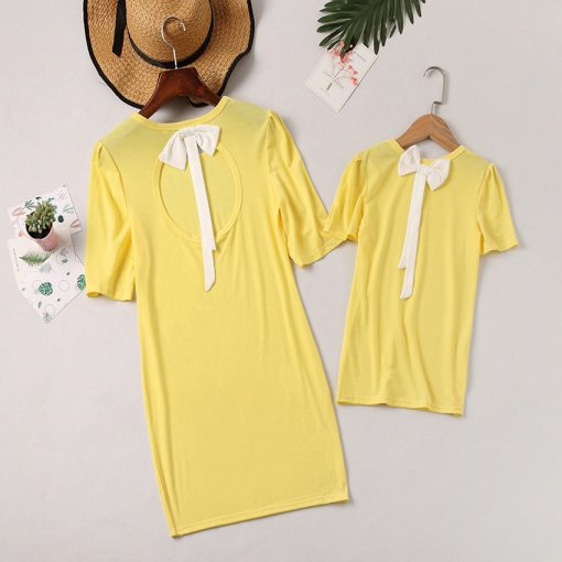 Short Sleeve Knee-Length Mom Daughter Matching Dress 2018 4