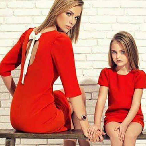 Short Sleeve Knee-Length Mom Daughter Matching Dress 2018 1