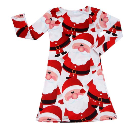 Red Santa Claus Xmas Long Sleeve Dress for Girls 3