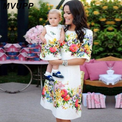 Mother & Daughter Family Matching Half Sleeve Knee-length Dress 1