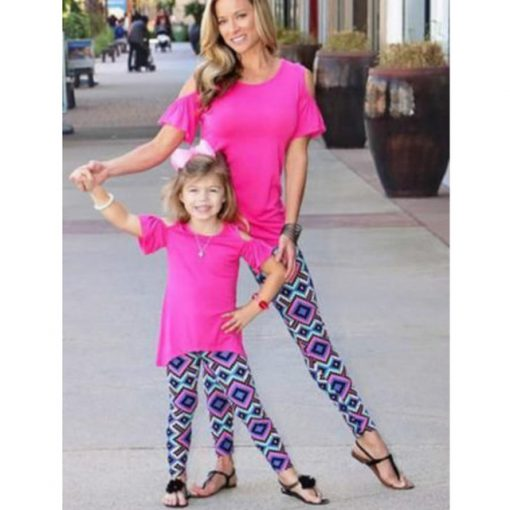Mommy and Me Matching Geometric Print leggings 1