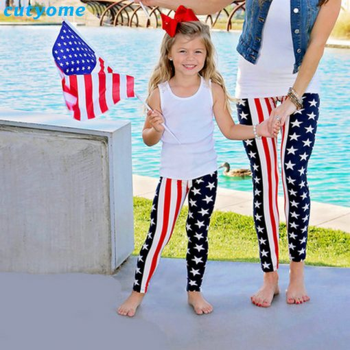 Mommy and Mini Me USA Flag print Matching Leggings 1