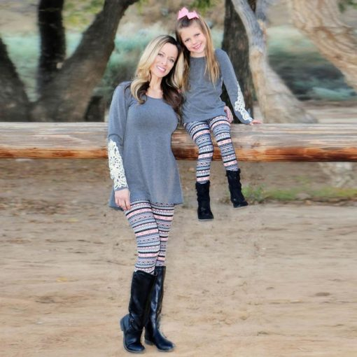 Mother and Daughter Tribal Print Leggings 1
