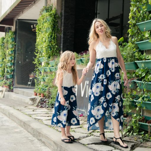 Mother And Dauhgter Floral Long Maxi Dresses 1