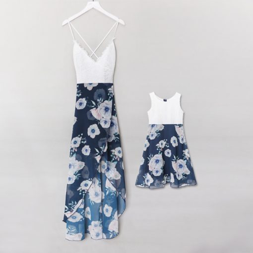 Mother And Dauhgter Floral Long Maxi Dresses 5