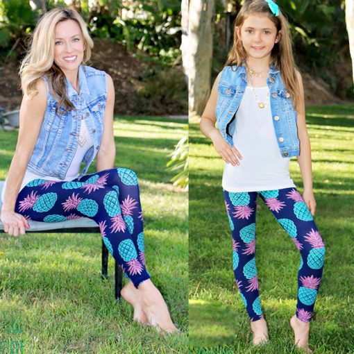 Mother and Daughter Pineapple Print Matching Leggings 1