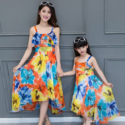 Mother and Daughter Printed Maxi Dresses 7