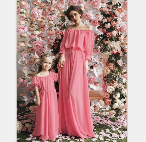 Beautiful Mother and Daughter Matching Maxi Dresses 1