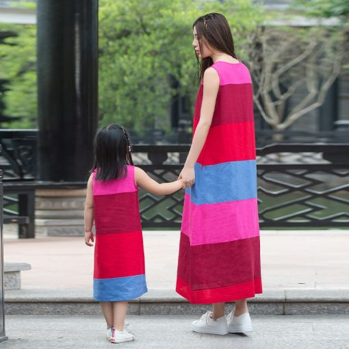 Casual Striped Mommy and Me Matching Dress 3