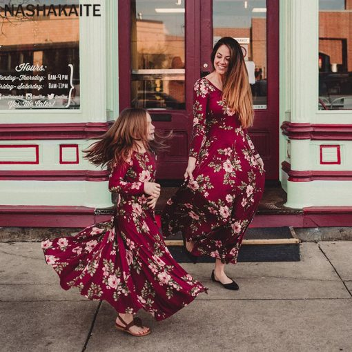 Mommy and Me Floral Maxi Matching Dresses 1