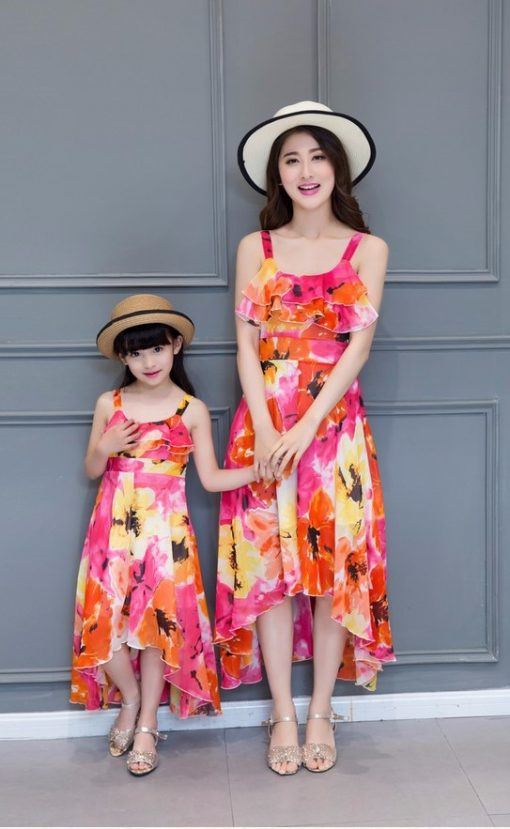 Mother and Daughter Printed Maxi Dresses 1