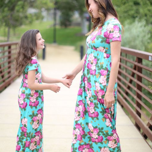 Floral Matching Maxi Dress For Mother and Daughter 6