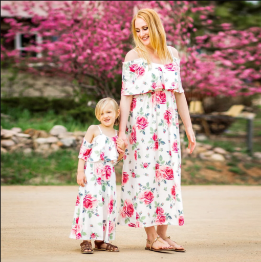 Floral Matching Maxi Dresses for Mother and Daughter 3