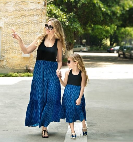 Casual Boho Matching Maxi Dresses for Mother and Daughter 1