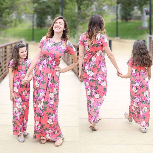 Floral Matching Maxi Dress For Mother and Daughter 1