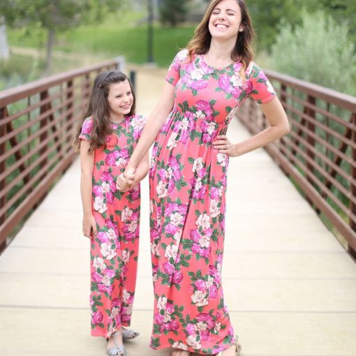 Floral Matching Maxi Dress For Mother and Daughter 7
