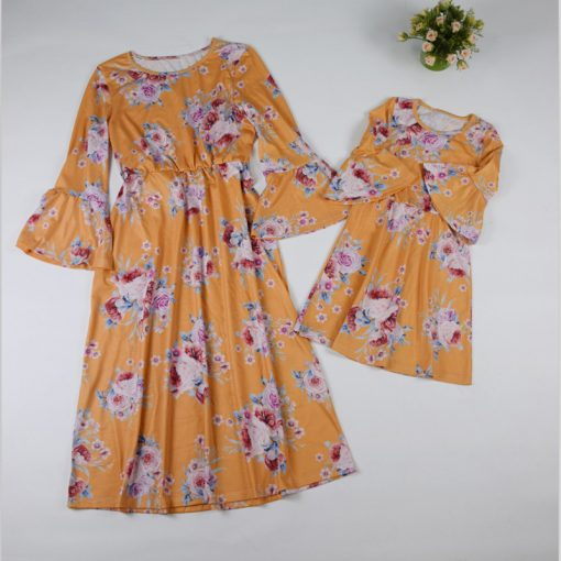 Mother and Daughter Botanic Maxi Dresses 4