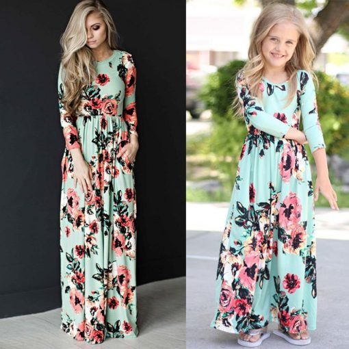 Beautiful Matching Maxi Dresses For Mother and Daughter 3