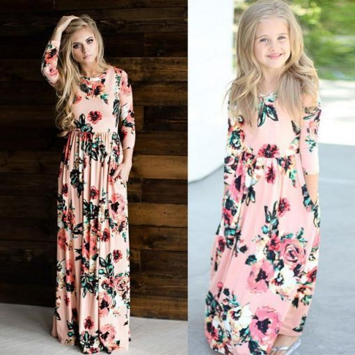Beautiful Matching Maxi Dresses For Mother and Daughter 1