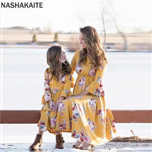 Mother and Daughter Botanic Maxi Dresses 2