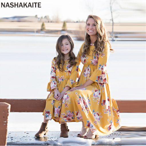 Mother and Daughter Botanic Maxi Dresses 1