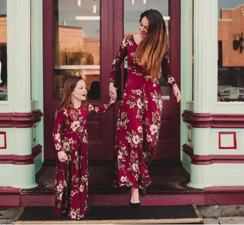 Mommy and Me Floral Maxi Matching Dresses 3
