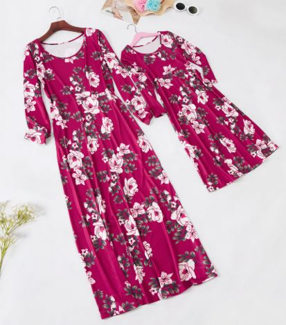 Mommy and Me Floral Maxi Matching Dresses 4
