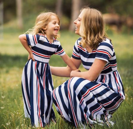 Classic Mother and Daughter Matching Maxi dresses 1