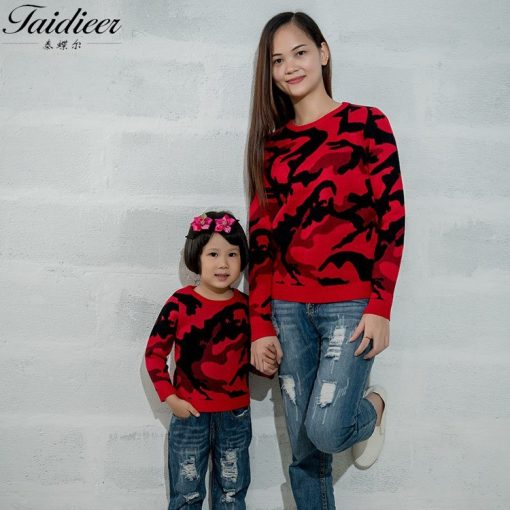 Casual Printed Mother and Daughter Sweater 1