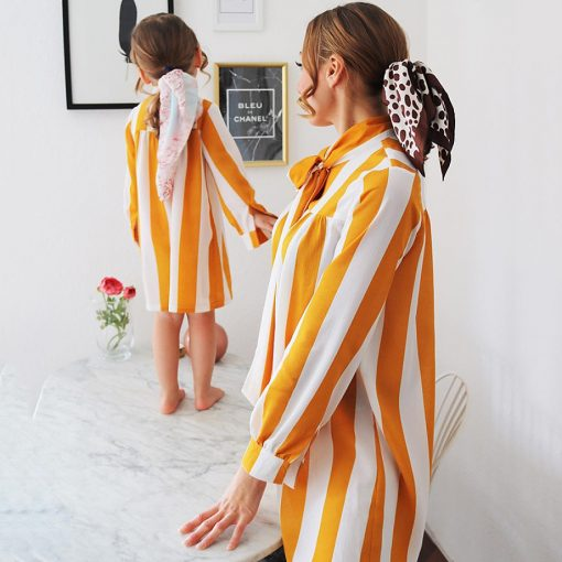 Mother and daughter Trendy Striped Matching Dresses 2