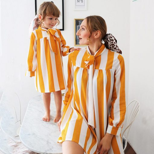 Mother and daughter Trendy Striped Matching Dresses 1