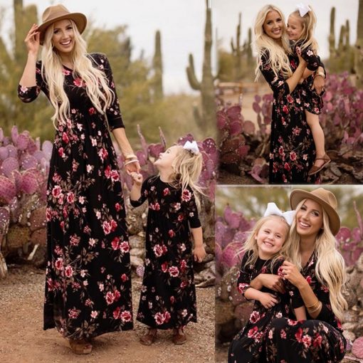 Matching Floral Maxi Dress for Mother and Daughter 4