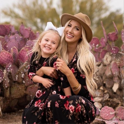 Matching Floral Maxi Dress for Mother and Daughter 1