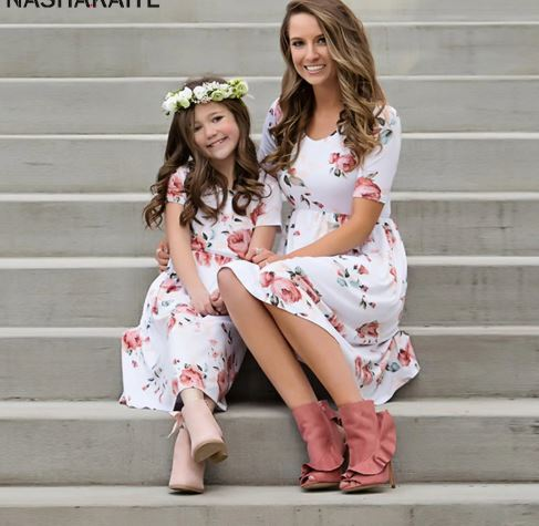 Floral Matching Mother and Daughter Maxi Dress 1