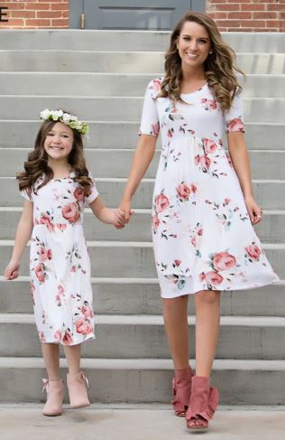 Floral Matching Mother and Daughter Maxi Dress 2