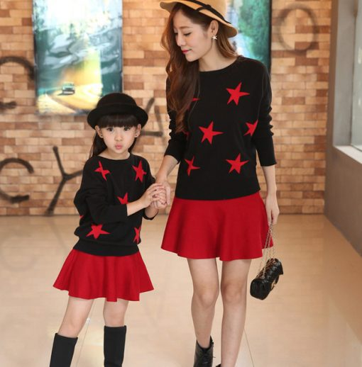 Star Print Mother and Daughter Matching Sweater 1