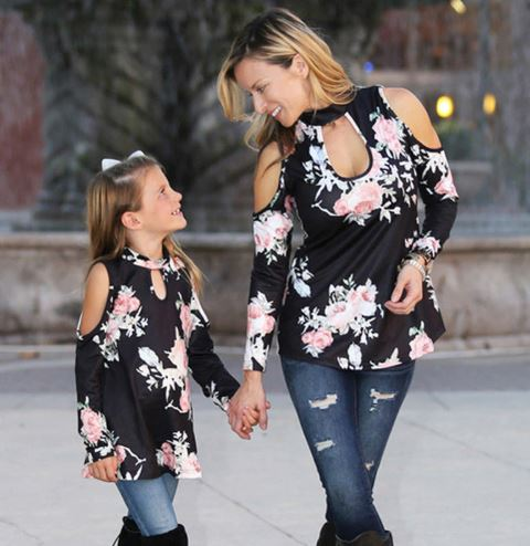 Classic Floral Mother and Daughter Matching Tops 1