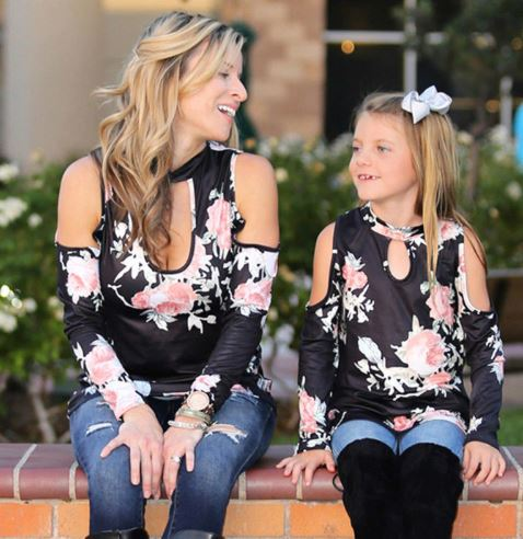 Classic Floral Mother and Daughter Matching Tops 2