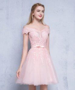 Elegant Short Lace Work Prom Dress