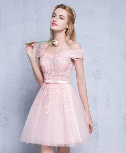 Elegant Short Lace Work Prom Dress 3