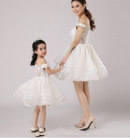 Off-shoulder Mommy and Me Wedding Matching Dress 4