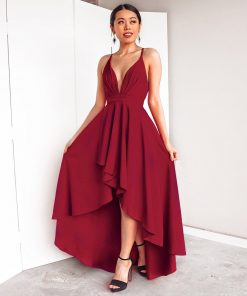 Alluring Asymmetrical Deep Neck Prom Dress