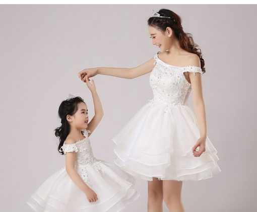 Off-shoulder Mommy and Me Wedding Matching Dress 3